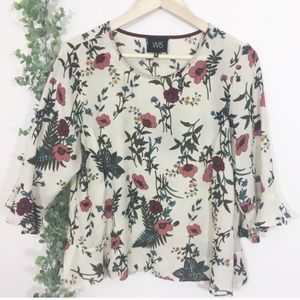 Anthropologie W5 floral print bell sleeve blouse